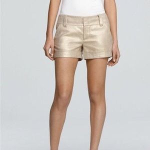 Alice & Olivia Gold Linen Candy Short